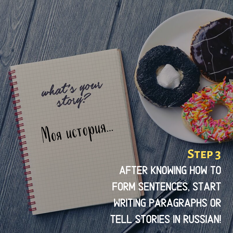 Step 3: After knowing how to form sentences, start writing paragraphs or Tell stories in russian!